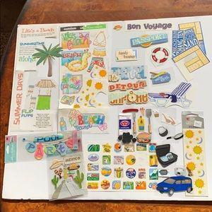 Pool party/travel scrapbook sticker bundle